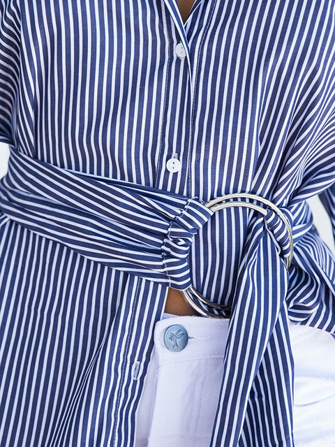 Sleeve With Belt Stripes Long Asymmetric Blue Shirt S6Bpwx