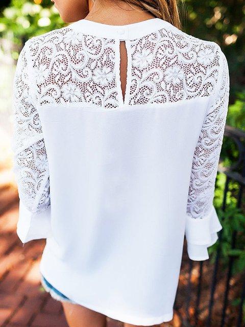 White Bell Sleeve Sleeve Paneled Bell Blouse Paneled Blouse White White aFrBw1qa