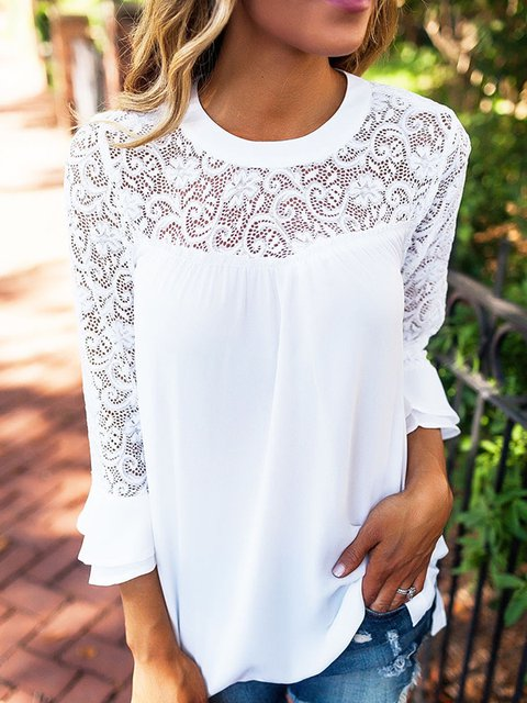 White Bell Sleeve Paneled Blouse