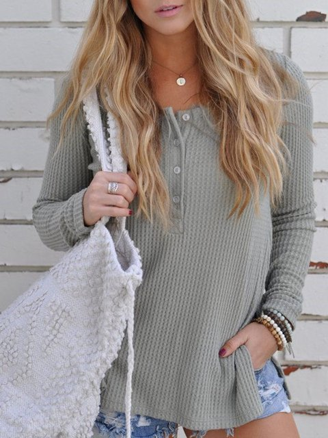 Casual Solid Buttoned Crew Neck Sweater