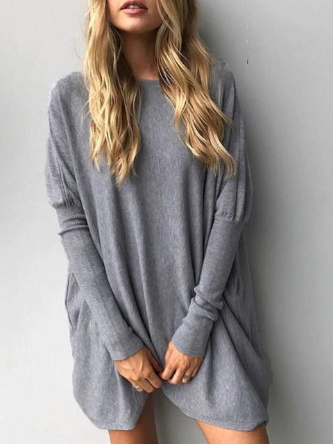 Crew Long Neck Sleeve Sweatshirt Casual ERwp0qE