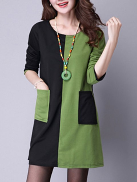 Long Women line A Dress Cotton Daytime Casual Sleeve Casual Zptvx