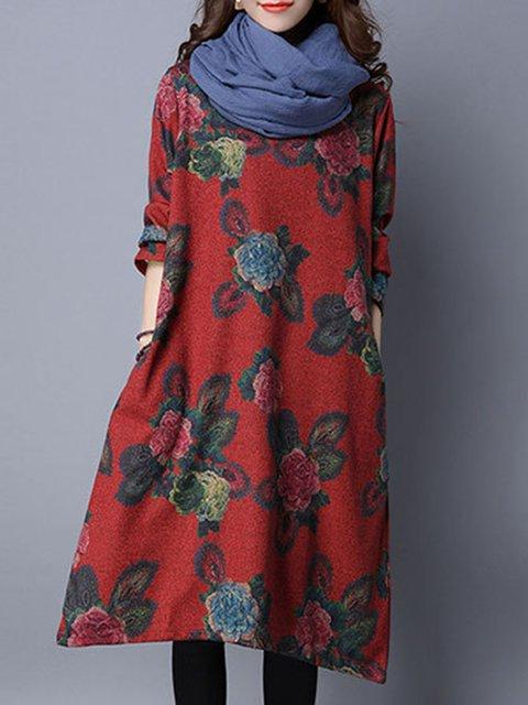 Women Vintage Long Sleeve Pockets Floral Casual Dress