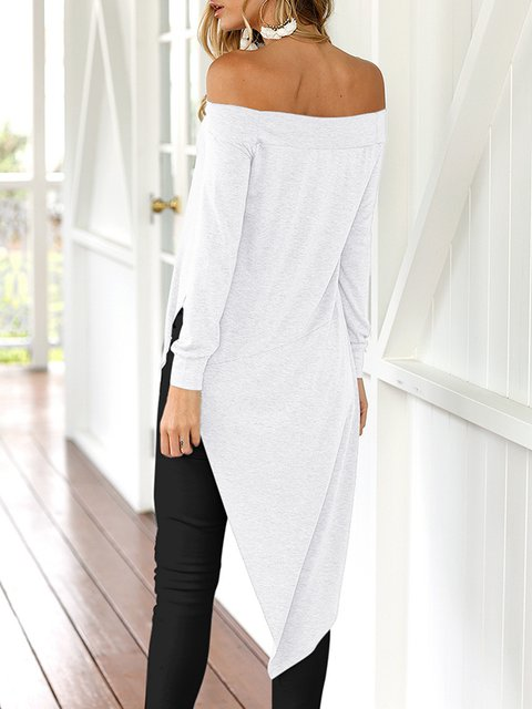 Solid Slit Blouse Cotton Shift Strapless Winter qgaxgFtEw