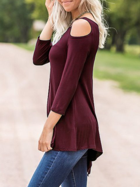 Asymmetric Winter Cold Cotton Solid Blouse Shoulder tqUYtwSIx
