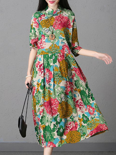 Stand Collar Multicolor Swing Women Daytime Linen Vintage Long Sleeve Printed Floral Elegant Dress