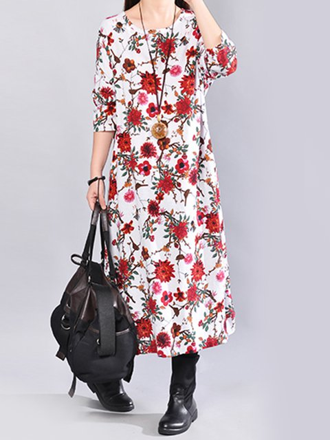 line Dress Women Casual Casual Daily Floral A Floral Sleeve print Long vdgwxv5zq