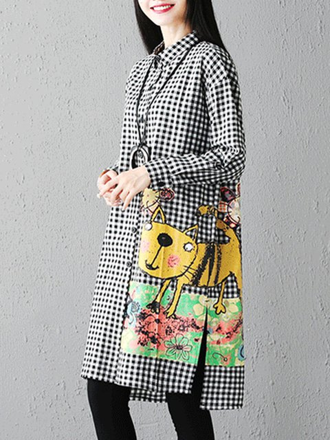 Women Casual Dress Daily Slit Shift Long Sleeve Collar Animal Casual Shirt qzwExTqC