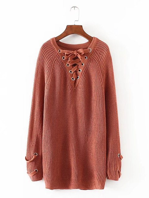 Lace Up Knitted Long Sleeve Acrylic Solid Sweater