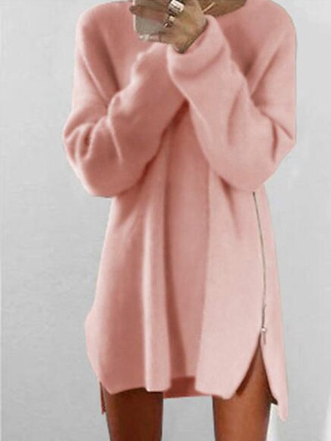Fluffy Zipper Long Sleeve Casual H-line Sweater