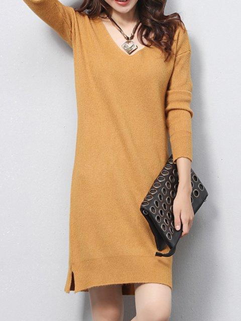 Solid V Neck Slit H-line Simple Longline Sweater