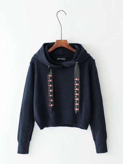 Drawstring Knitted Hoodie Long Sleeve Sweater