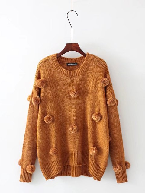Casual Crew Neck Knitted Solid Puffer Ball Sweater