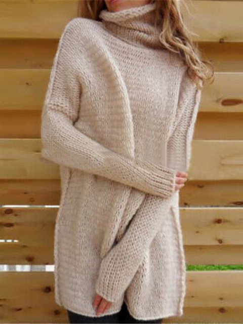 Women's Long Sleeve Soft Knitted Casual Pullover Sweater