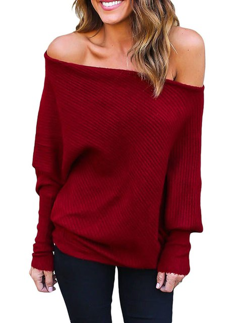 Off Shoulder Bat Long Sleeves Loose Fit Sweater - JustFashionNow.com 90a06baf6