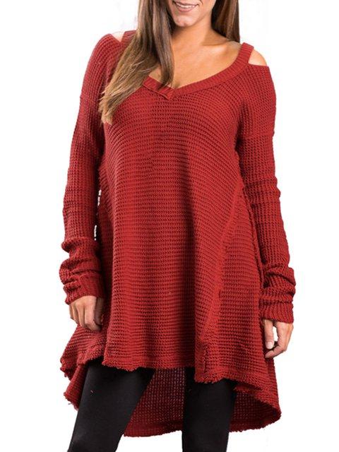 Women's Cozy V Neck Swing Waffle Knit Sweater
