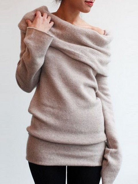 Solid Cowl Neck Long Sleeve Knitted Sweater