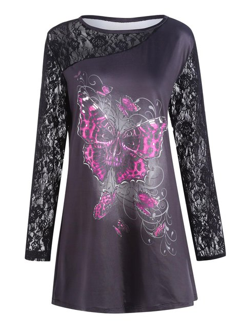 Halloween Butterfly Printed Long Sleeve Paneled Tunic Top