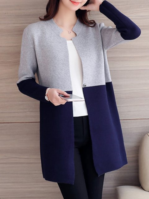 Korean Knitted Style Casual Color Cardigan block rnrqI4xC