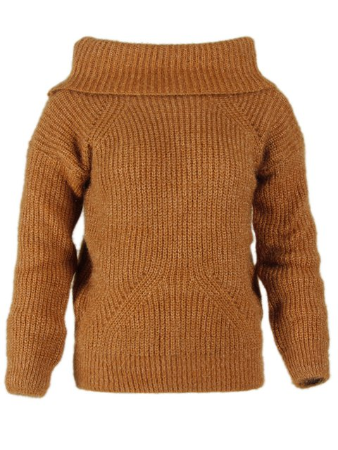 Women's Spring Solid Off-shoulder Pullover Knitted Sweater