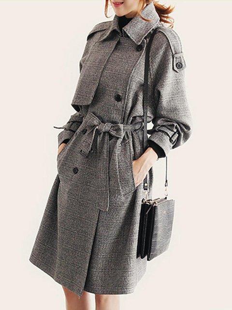 Coat Long Trench Jacket Lapel With Breasted Coat Women's Pea Belt Winter Double RXz1Bq