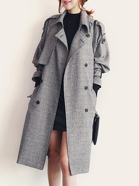 Womens Winter Lapel Double Breasted Jacket Long Trench Coat Pea