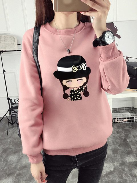 Women Autumn Fashion Cartoon Printed Casual Pullover Top Sweatshirt