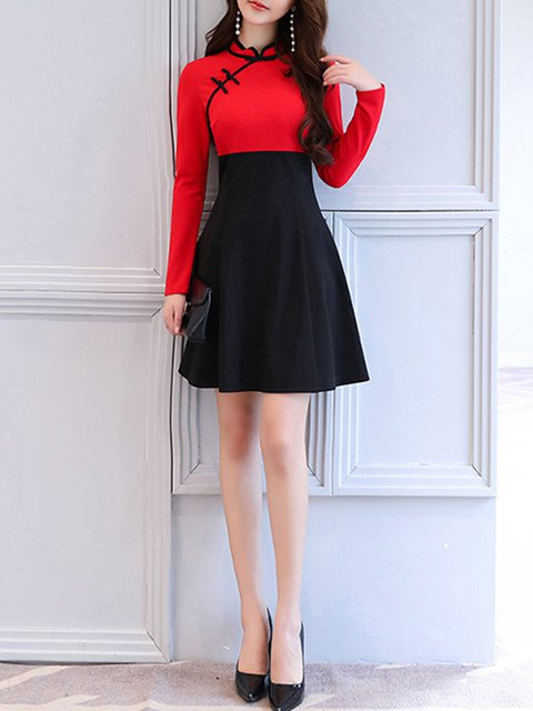 Collar block A Daily Elegant Solid line Vintage Women Color Dress Long Sleeve Black Stand gvqxwv4