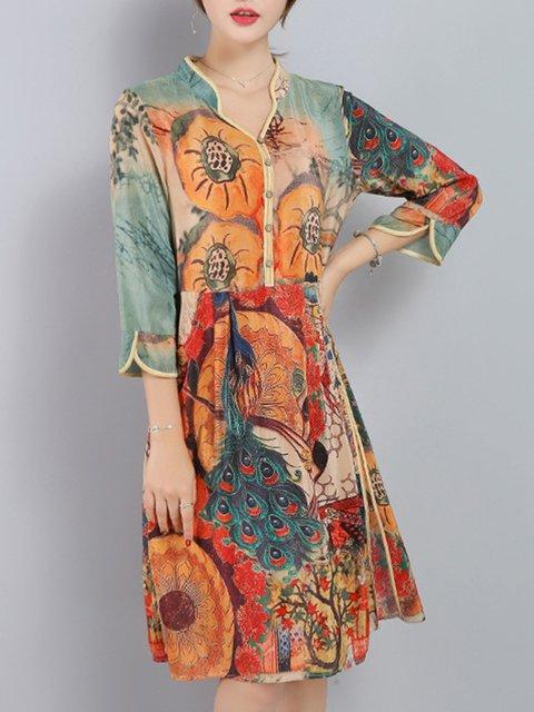 V neck Multicolor Women Daily 3/4 Sleeve Vintage Slit Elegant Dress