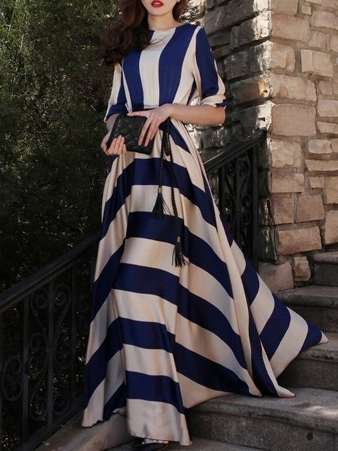 Bateau/boat neck Blue Ball Gown Women Prom Elegant Half Sleeve Paneled Striped Elegant Dress