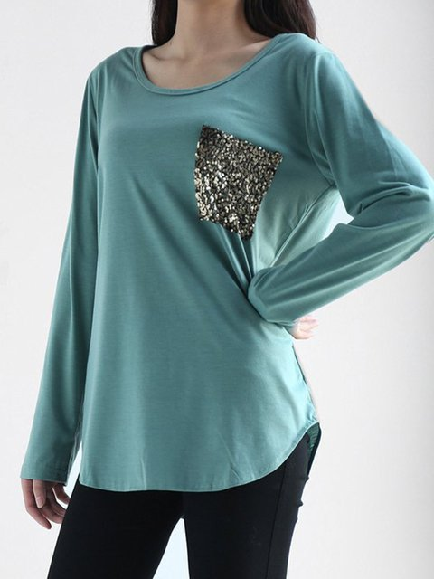 finished Simple Shirt Casual Glitter Long Sleeve T RtztZq