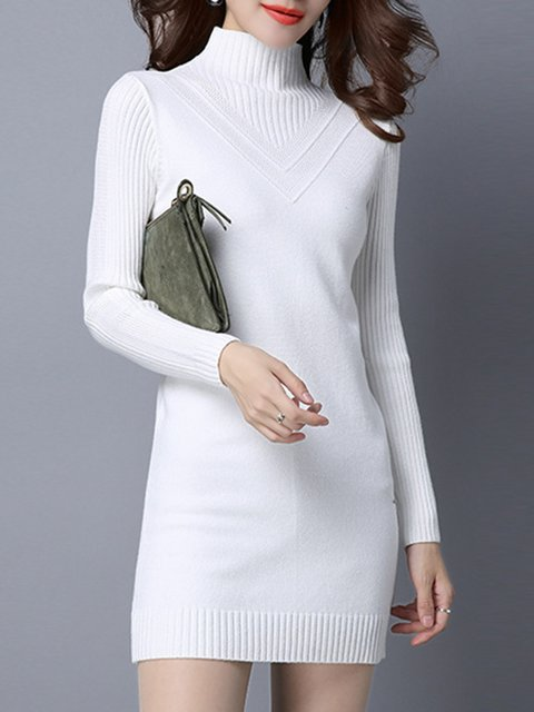 Turtleneck Elegant Long Solid Knitted Elegant Women Dress Sleeve wq1OHf