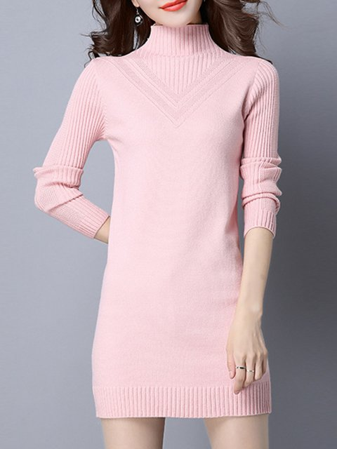 Turtleneck  Women Elegant Long Sleeve Knitted Solid Elegant Dress