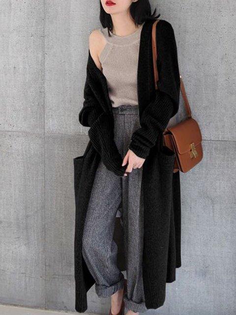 Sleeve Long Knitted Women Open Cardigan Front Maxi Long XBZqwxwz