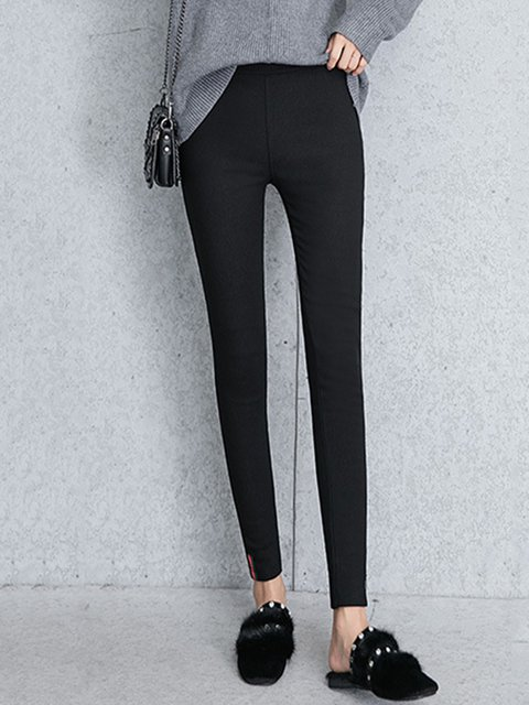 Women Black Thicken Lined Keep Warm Pencil Leggings
