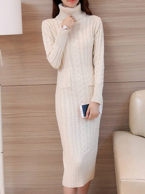 Sheath Women Daily Long Sleeve Cotton Knitted Solid Elegant Dress