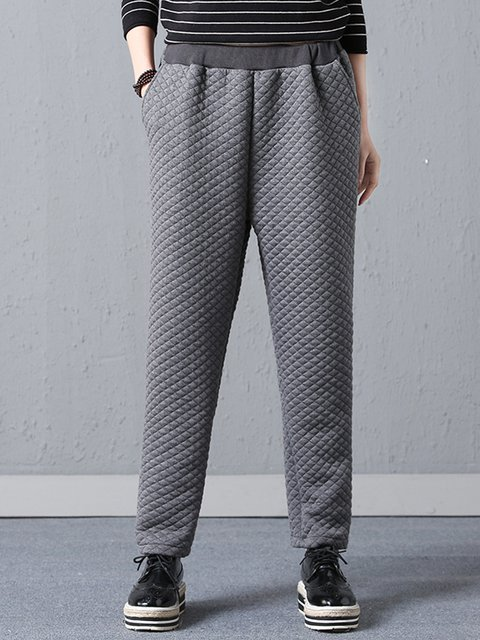 Gathered Cotton Casual Embossed Thick Pants