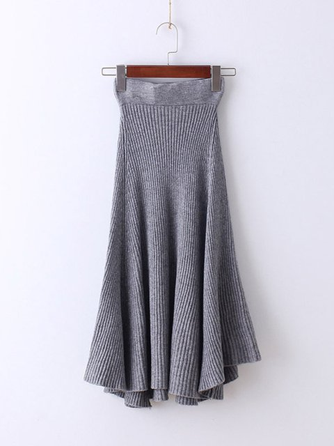 Asymmetric Cotton Solid Ruched Casual Swing Skirt
