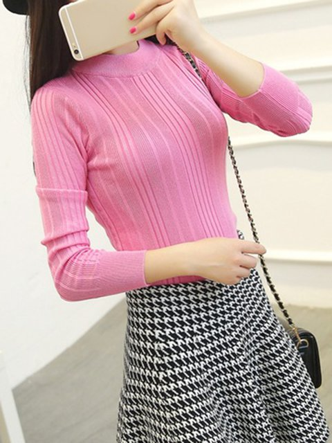Crew Neck Cotton Elegant Knitted Sweater