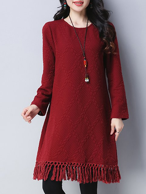 A-line Women Long Sleeve Casual  Solid Casual Dress