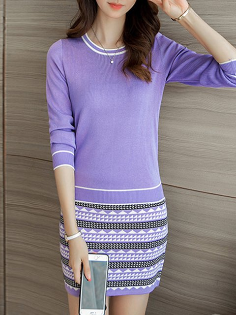 Women Daily Cotton Long Sleeve Casual Knitted Striped Casual Dress
