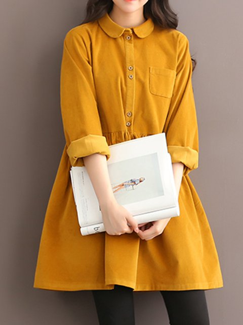 Swing Women Sweet Corduroy Buttoned Plain Casual Dress