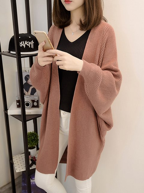 Sheath Long Sleeve Solid Polyester Casual Sweater