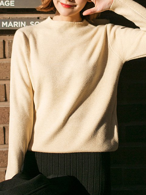 Solid Long Sleeve Sheath Casual Crew Neck Sweater