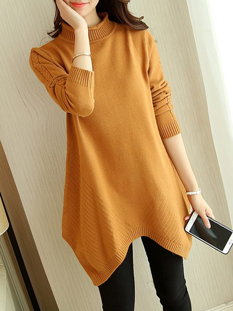 Casual Sheath Long Sleeve Sweater