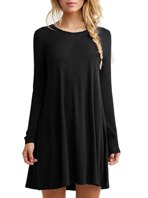 A-line Women Daily Casual Cotton-blend Long Sleeve  Spring Dress