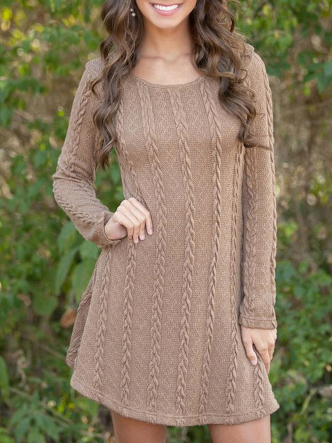 Women Daily Casual Jacquard Knitted Solid Spring Dress