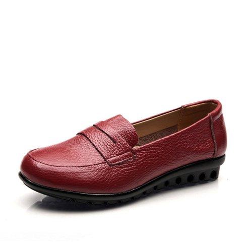 Women Solid  Panel Casual Ati-slip Leather Flats 35-43