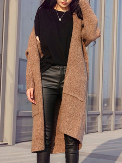 Sleeve Cardigan Solid Simple Simple Long Simple Long Solid Sleeve Cardigan Sleeve Solid Long wqqCn4Tp