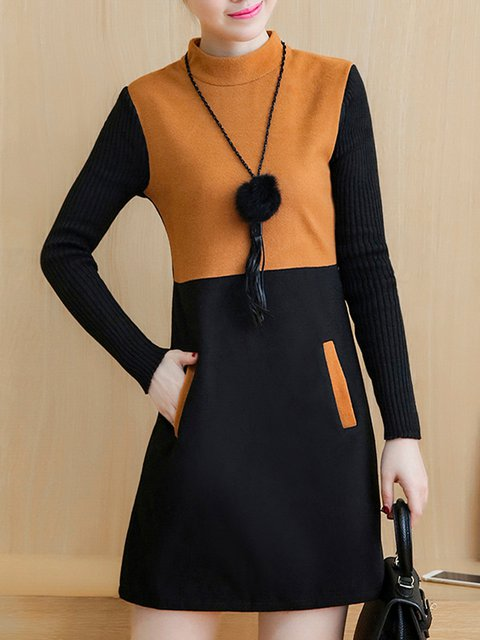 A-line Women Daily Cotton-blend Long Sleeve Paneled Elegant Dress